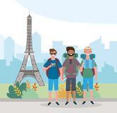 Travel men friends with backpack and eiffel tower destination stock illustration