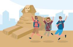 Travel men friends jumping and egypt sculture destination stock illustration
