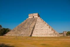 Anicent Maya mayan pyramid El Castillo Kukulkan in Chichen-Itza, Mexico. Travel Mexico background - Anicent Maya mayan pyramid El Castillo Kukulkan in Chichen royalty free stock photo