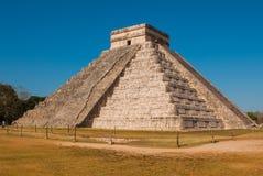Anicent Maya mayan pyramid El Castillo Kukulkan in Chichen-Itza, Mexico. Travel Mexico background - Anicent Maya mayan pyramid El Castillo Kukulkan in Chichen royalty free stock photos