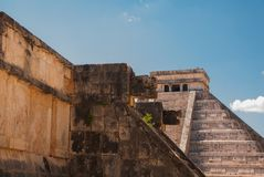Anicent Maya mayan pyramid El Castillo Kukulkan in Chichen-Itza, Mexico. Travel Mexico background - Anicent Maya mayan pyramid El Castillo Kukulkan in Chichen stock image