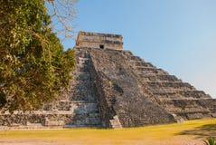 Anicent Maya mayan pyramid El Castillo Kukulkan in Chichen-Itza, Mexico. Travel Mexico background - Anicent Maya mayan pyramid El Castillo Kukulkan in Chichen royalty free stock image