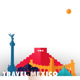 Travel Mexico country paper cut world monuments. Travel Mexico concept illustration in paper cut style, famous world landmarks of mexican country. Includes Aztec Royalty Free Stock Image