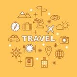 Travel minimal outline icons Royalty Free Stock Photo