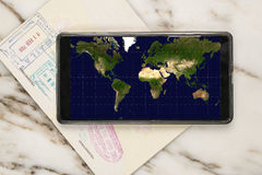 Travel with mobile phone Stock Images