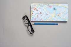 Travel mock up. Mock up of summer traveling stuff on grey background Royalty Free Stock Photo