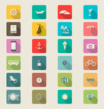 Travel modern flat icon collection retro color Royalty Free Stock Image