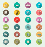 Travel modern flat icon collection retro color Stock Photos