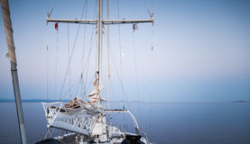 Travel on modern sailing ship, view on the bow Royalty Free Stock Photos