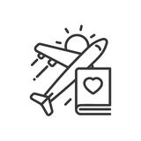 Travel - modern vector single line icon. An image of a flying plane, book, shining sun and heart shaped figure. Representation of going for a journey, vacation Stock Image