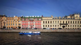 Travel on Moika river of St. Petersburg Film Tilt. View of the Moika river in St. Petersburg Time lapse stock video footage