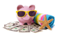 Travel money, holiday saving, currency, Piggy Bank on beach vacation Royalty Free Stock Photography