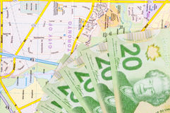 Travel Money and map Royalty Free Stock Image