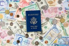 Travel Money & Passport. United States of America Passport with Money from Different Countries depicting a Global/World Economy and travel. Money from Belize Royalty Free Stock Photos