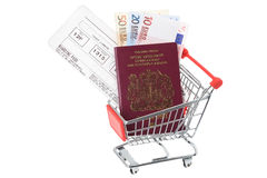 Travel money in shopping trolley cart. Passport, flight boarding pass and Euro notes in a supermarket shopping trolley cart - studio shot with a white background Stock Photos