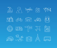 Travel mono line icon set. Travel and tourism rest vacation linear pictograms. Vector set of 20 icons in trendy mono line style Stock Photos
