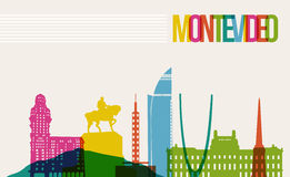 Travel Montevideo destination landmarks skyline background vector illustration