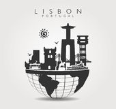 Travel Monuments in Lisbon at Top of the World. Worls Travel Monuments in Lisbon with Sun and Sardines  at Top of the World. Vector illustration Royalty Free Stock Images