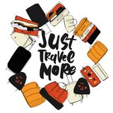 Travel more. Motivation quote. Hand drawn set of different travel bags and suitcases. Royalty Free Stock Photos