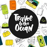 Travel more. Motivation quote. Hand drawn set of different travel bags and suitcases. Royalty Free Stock Photo