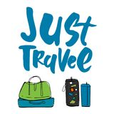 Travel more. Motivation quote. Hand drawn set of different travel bags and suitcases. Royalty Free Stock Photography