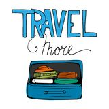 Travel more. Motivation quote. Hand drawn set of different travel bags and suitcases. Stock Image