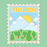 Travel more motivation vector postcard Royalty Free Stock Photo