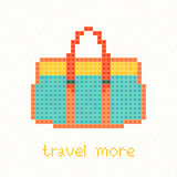 Travel more! Pixel art postcard with Green bag. Travel more! Pixel art postcard. Green bag with orange straps and yellow top. Trendy hipster Handbag. Woman Royalty Free Stock Photos