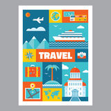 Travel - mosaic poster with icons in flat design style. Vector icons set. Royalty Free Stock Photo