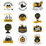 Travel motivation badges vector set. Stock Photos