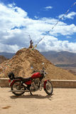 Travel motorcycle. On the mountain background. Himalayas Stock Images