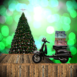Travel with motorcycles in Christmas day Royalty Free Stock Photography
