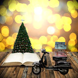 Travel with motorcycles in Christmas day Royalty Free Stock Image