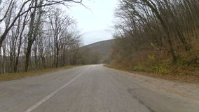 Travel on the mountain plateau by car, GoPro. Winding mountain road through the woodland in late autumn, GoPro stock video