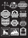Travel in the mountains, design stickers on the theme of mountains, ski resorts. Set of stickers, ski season, design elements, trips to the mountains Royalty Free Stock Photography