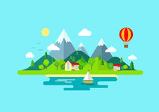 Travel mountains island landscape and sailing color flat concept. Travel mountains island landscape and sailing color flat vector icon nature weather concept Royalty Free Stock Images