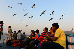 Travel Mumbai. Tourists going to the Elephanta island in Mumbai.This island is a popular tourist destination because of the island's cave temples, the Elephanta Stock Images