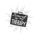 Travel is my therapy inscription with rays of blast isolated on white background. Vector illustration. Royalty Free Stock Images
