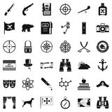 Travel in nature icons set, simple style stock illustration