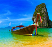 Travel landscape, beach with blue water Stock Photography