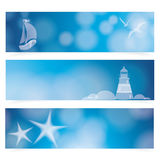 Travel and Nautical - blue awesome banners Royalty Free Stock Image