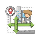 Travel and navigation design. Gps and boy of travel navigation and route theme Vector illustration Royalty Free Stock Photography