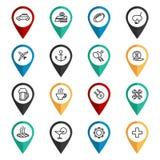 Travel navigation icons set. Map pointers set vector illustration Royalty Free Stock Photos
