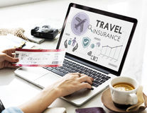 Travel Navigation Journey Vacation Trip Laptop Concept. Woman Finding Travel Insurance Navigation Journey Vacation Trip Laptop stock photos
