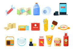 Travel necessities sett, first aid kit, rope, compass, map, phone, bottle of water, battery, radio, box of matches. Repellent, canned food vector Illustrations Stock Photos
