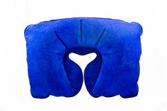 Travel neck pillow. Blue travel inflatable neck pillow isolated on a white background Stock Image