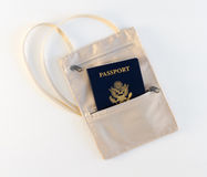 Travel Neck Pouch With Passport Stock Images