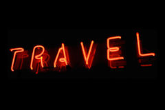 Travel neon sign Royalty Free Stock Images