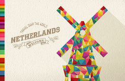 Travel netherlands landmark polygonal windmill vector illustration