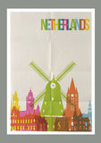 Travel Netherlands landmarks vintage paper poster stock illustration